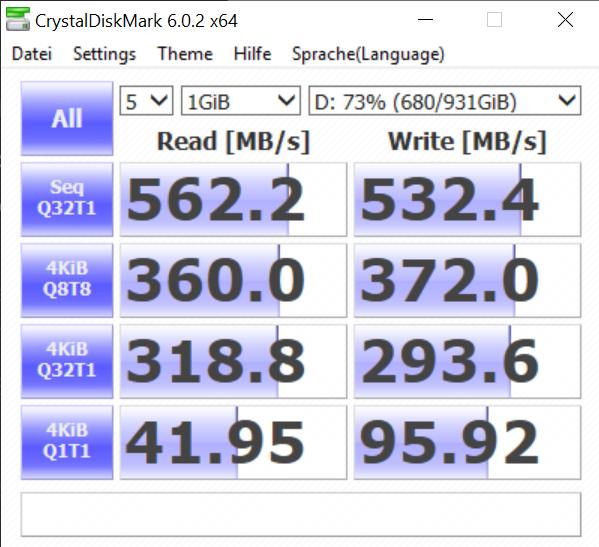 Screenshot CrystalDiskMark Samsung EVO 860 M2 SATA