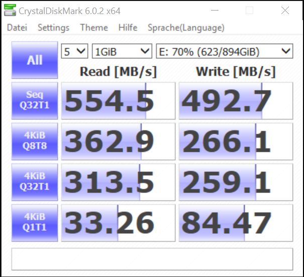 Screenshot CrystalDiskMark SanDisk Ultra II 960GB SATA SSD